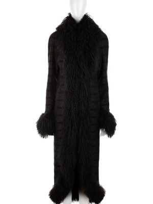 Black Tibetan Sheep Long Coat by Chanel - Le Dressing Monaco