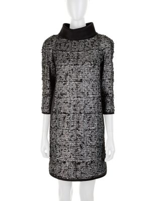 Silver Bouclé Dress Removable Collar by Chanel - Le Dressing Monaco