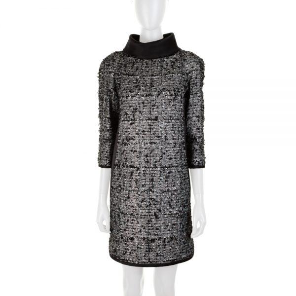 Silver Bouclé Dress Removable Collar by Chanel - Le Dressing Monaco