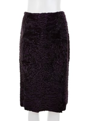 Purple Astrakan 2 Slits Pencil Skirt by Prada - Le Dressing Monaco