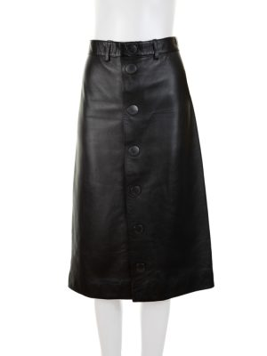 Black Leather Buttoned Pencil Skirt by Balenciaga - Le Dressing Monaco