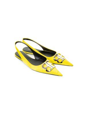 Pointy Yellow Satin BB Slingback Flats by Balenciaga - Le Dressing Monaco