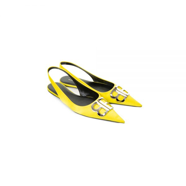 Yellow Satin Slingback Flats by Balenciaga - Le Dressing Monaco
