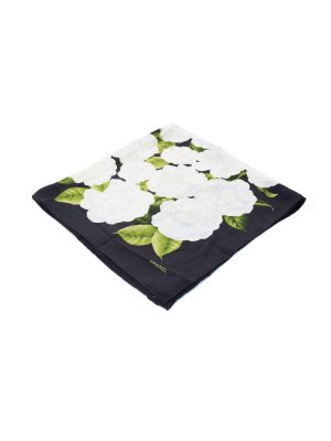 Black Camellia Silk Scarf by Chanel - Le Dressing Monaco