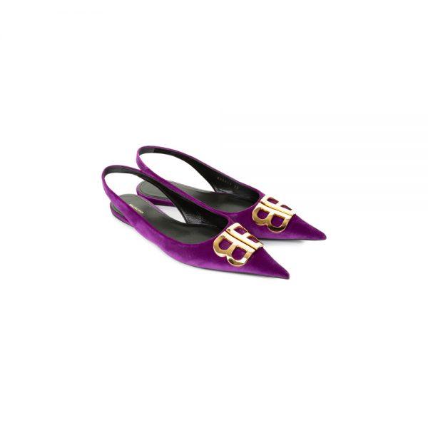 Purple Velvet Slingback Flats by Balenciaga - Le Dressing Monaco