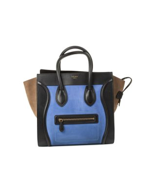 Blue Suede Tricolor Luggage Tote by Celine - Le Dressing Monaco