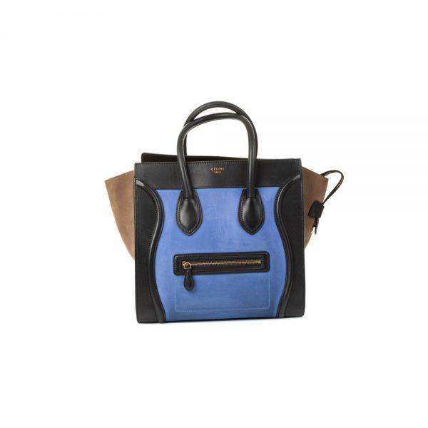 Blue Suede Tricolor Luggage Tote by Celine - Le Dressing Monaco