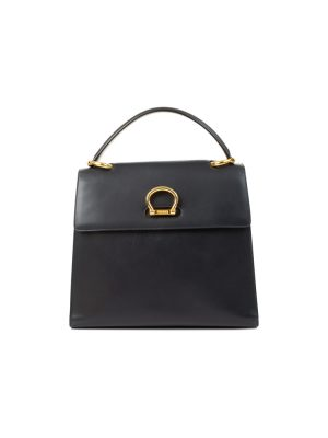 Vintage Navy Leather Flapbag by Céline - Le Dressing Monaco