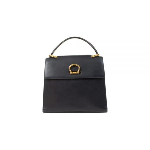 Vintage Navy Leather Flapbag by Céline - Le Dressing Monaco