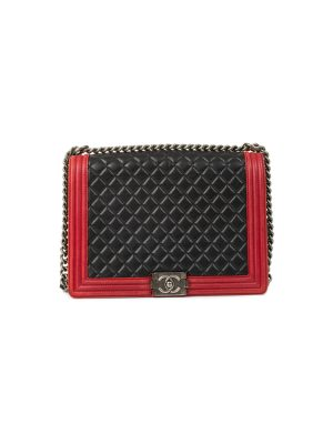 Black And Red Leather Boy Bag by Chanel - Le Dressing Monaco