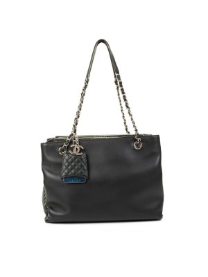 Black Leather Gusseted Shopping Tote Bag by Chanel - Le Dressing Monaco