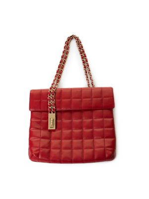 Flat Quilted Square Red Leather Handbag by Chanel - Le Dressing Monaco
