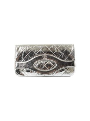 Silver Quilted Leather Wallet Clutch by Chanel - Le Dressing Monaco