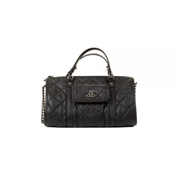 Black Zipped Bowling Handbag by Chanel - Le Dressing Monaco