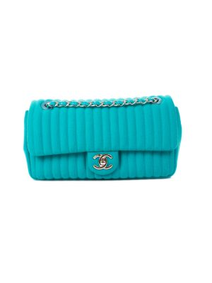 Turquoise Wool Medium Flapbag by Chanel - Le Dressing Monaco