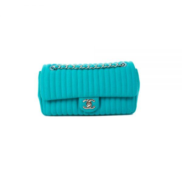 Turquoise Wool Medium Flapbag by Chanel - Le Dressing Monaco