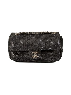 Black Printed Sequins Nylon Flap Bag by Chanel - Le Dressing Monaco