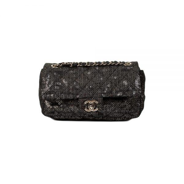 Black Hidden Sequins Mesh Flap Bag by Chanel - Le Dressing Monaco