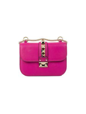 Fuschia Rockstud Lock Chain Flapbag by Valentino - Le Dressing Monaco