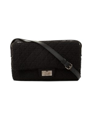 Black Tweed 2.55 Leather Strap Crossbody Bag by Chanel - Le Dressing Monaco