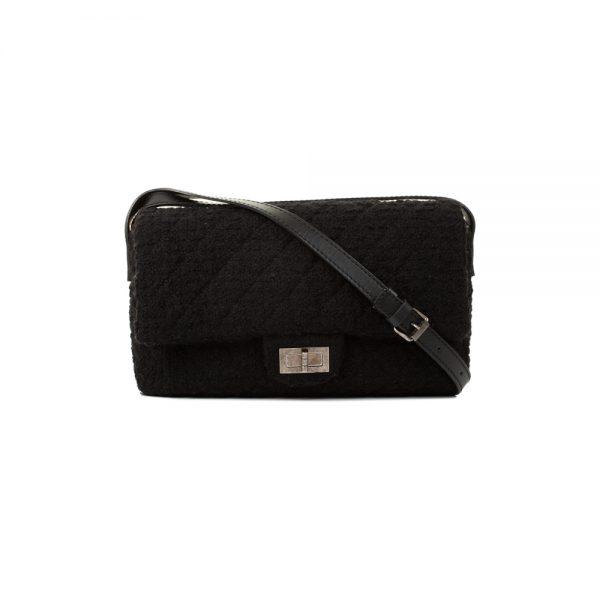 Black Tweed 2.55 Leather Strap Crossbody Bag by Chanel - Le Dressing Monaco