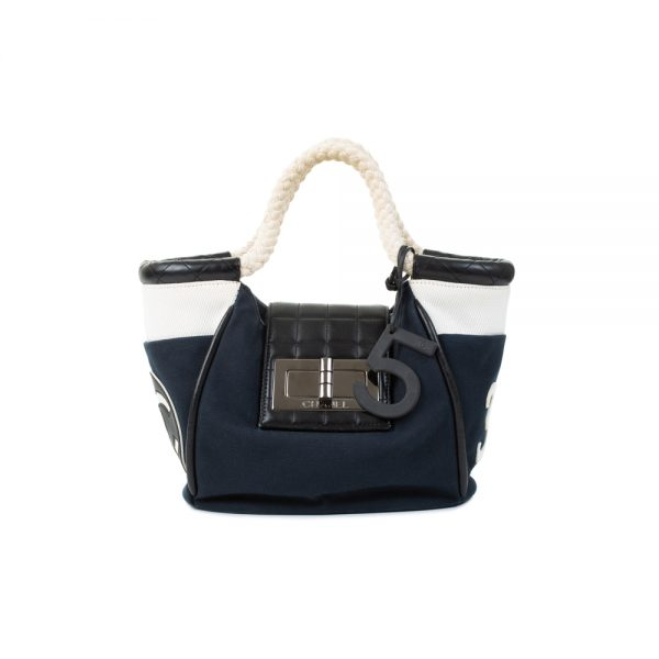 Navy Canvas Handbag With Rope Handles by Chanel - Le Dressing Monaco