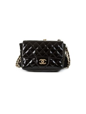 Black Lace Patent Double Bag by Chanel - Le Dressing Monaco