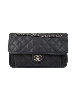 Navy Caviar Leather Medium Flapbag by Chanel - Le Dressing Monaco