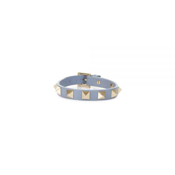 Grey Rockstud Leather Bracelet by Valentino - Le Dressing Monaco