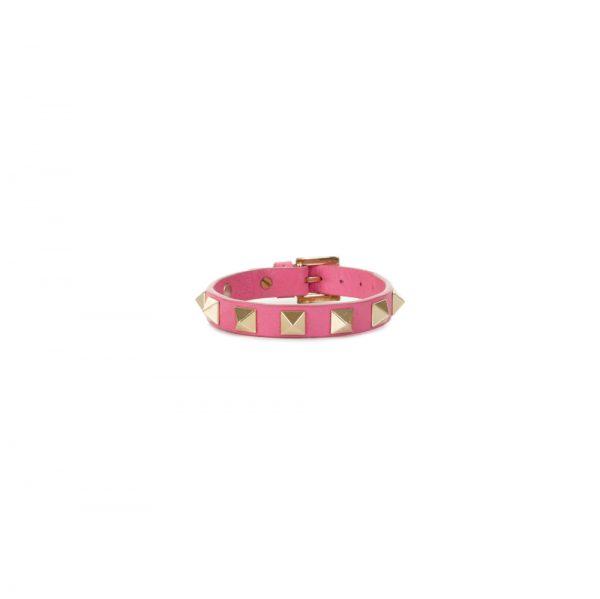 Pink Rockstud Leather Bracelet by Valentino - Le Dressing Monaco