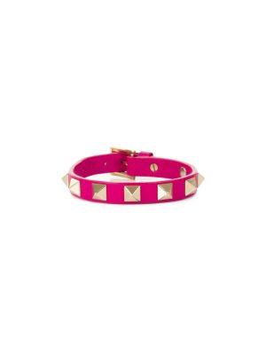 Fushia Rockstud Leather Bracelet by Valentino - Le Dressing Monaco