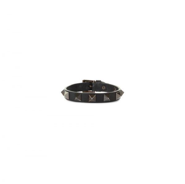 Black Rockstud Leather Bracelet by Valentino - Le Dressing Monaco