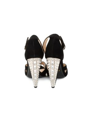 Crystal High Heeled Black Velvet Sandals by Prada - Le Dressing Monaco