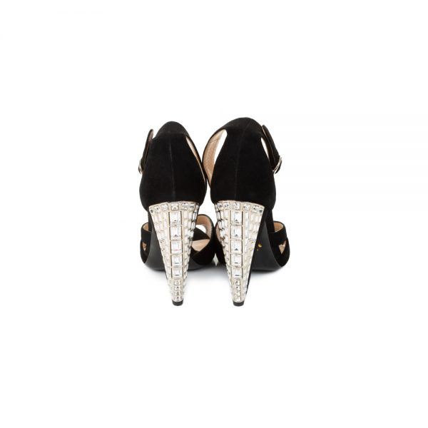 Crystal High Heeled Black Velvet Sandals by Prada - Le Dressing Monaco