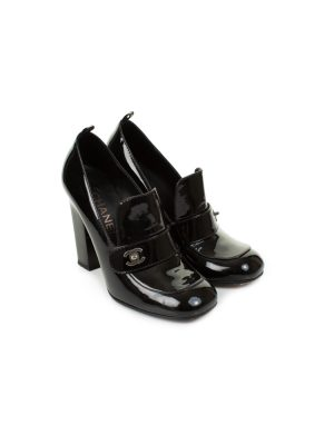 Black Patent Leather High Heel Mocassins by Chanel - Le Dressing Monaco