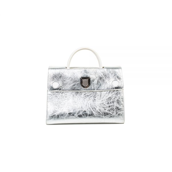Silver Grained Lambskin Medium Diorever Bag by Dior - Le Dressing Monaco