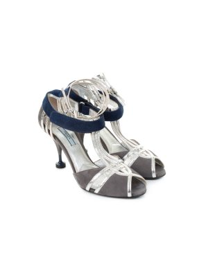 Blue Silver High Heeled Sandals by Prada - Le Dressing Monaco