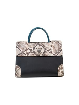 Black Blue leather Python Medium Diorever Bag by Dior - Le Dressing Monaco