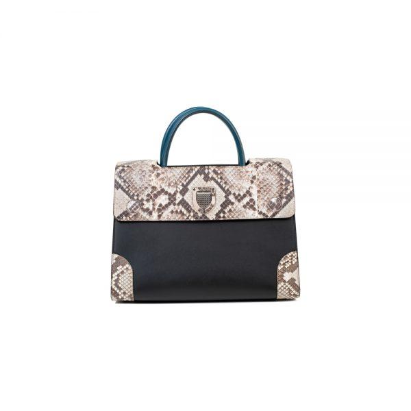 Black Blue leather Python Medium Diorever Bag by Dior - Le Dressing Monaco