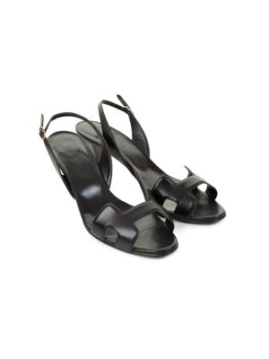 Black Leather H High Heel Sandals by Hermès - Le Dressing Monaco