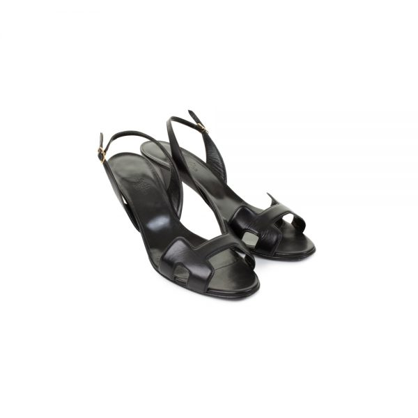 Black Night High Heel Leather Sling-Backs by Hermès - Le Dressing Monaco