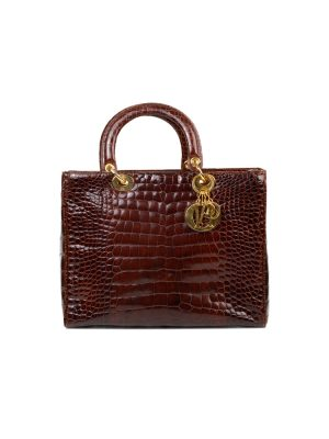 Brown Croco Leather Lady Dior Bag