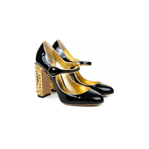 Black Gold Leather Crystal Clock Shoes by Dolce e Gabbana - Le Dressing Monaco