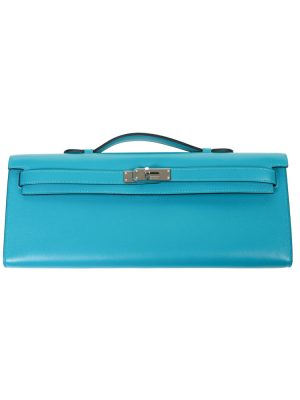 Turquoise Swift Leather Kelly Cut Handbag by Hermes - Le Dressing Monaco