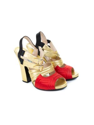Gold Red Metallic Leather Satin Platform Sandals by Prada - Le Dressing Monaco