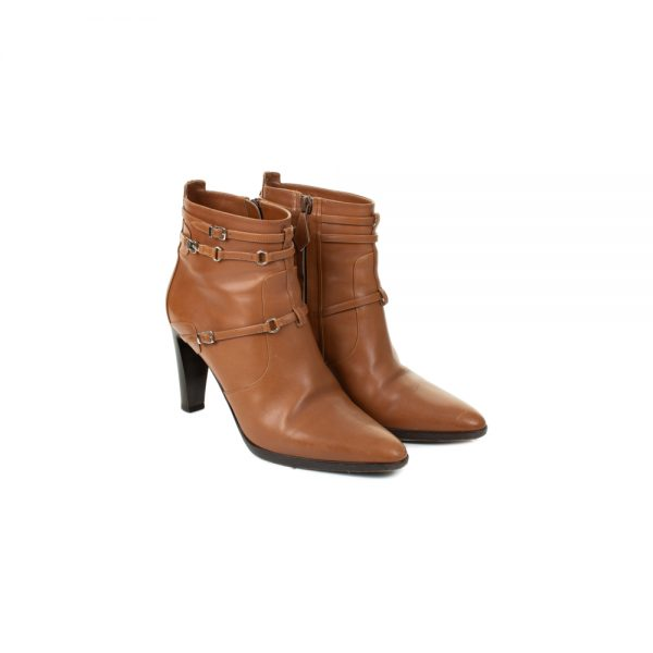 Cognac Leather High Heel Ankle Boots by Hermès - Le Dressing Monaco
