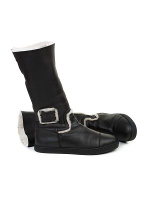 Grey Leather Lambskin Boots by Chanel - Le Dressing Monaco