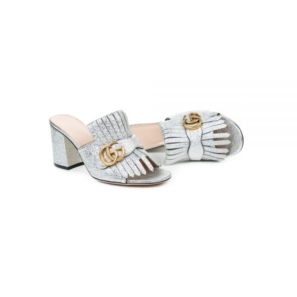 Silver Gold Logo Fringed Leather Mules by Dolce e Gabbana - Le Dressing Monaco