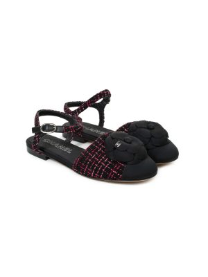 Tweed Camellia Flat Sandals by Chanel - Le Dressing Monaco