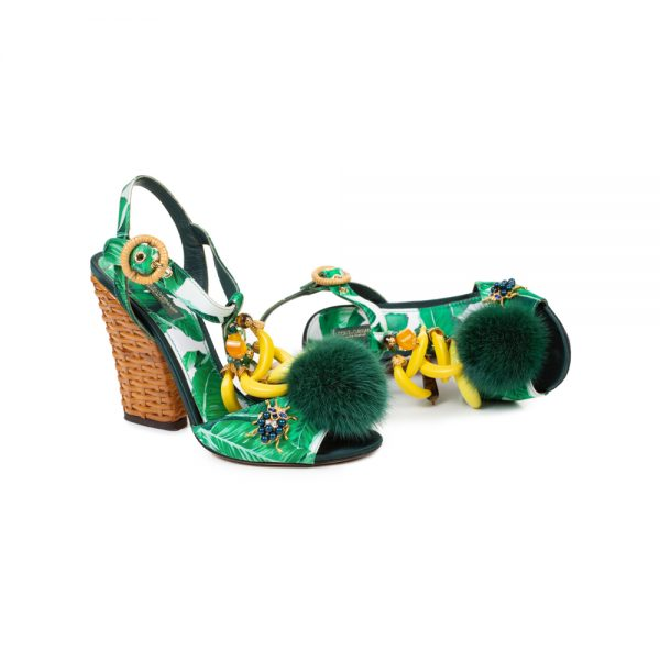 Green Banana Crystal Mink Sandals by Dolce e Gabbana - Le Dressing Monaco